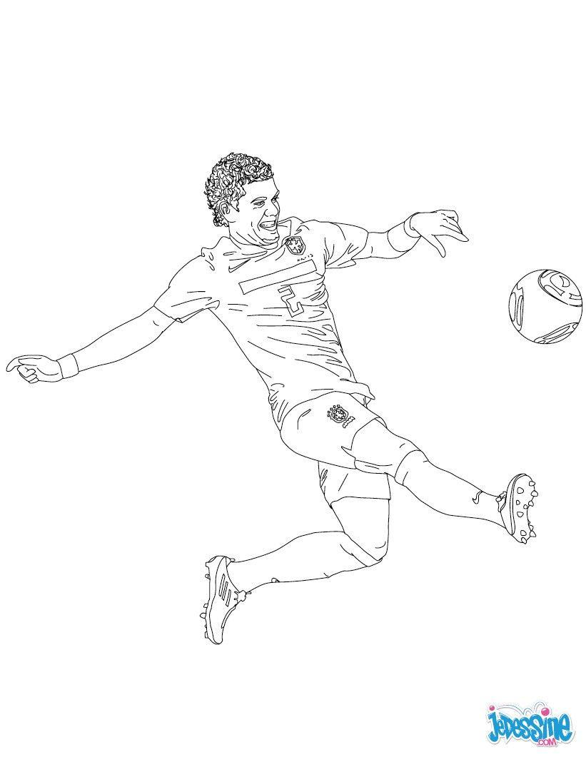 Coloriage Du Joueur De Foot Dani Alves. À Imprimer destiné Dessin De Foot A Imprimer