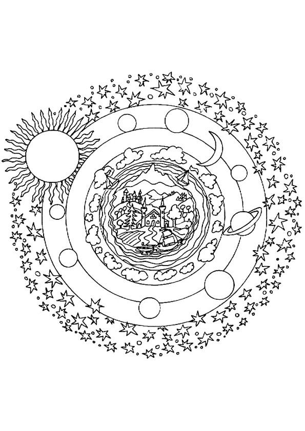 Coloriage Planètes Mandala Dessin Gratuit À Imprimer destiné Dessin Systeme Solaire