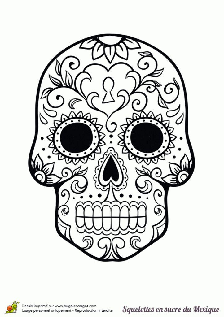 Coloriage Squelette Humain Imprimer Dessin Halloween En dedans Crane Mexicain Dessin