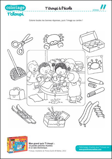 Coloriage T'Choupi À Imprimer : Coloriage : Le Quiz De L concernant Tchoupi Al Ecole