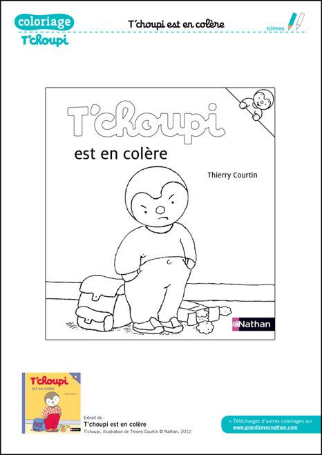 Coloriage T'Choupi À Imprimer : T'Choupi Est En Colère tout Tchoupi Al Ecole