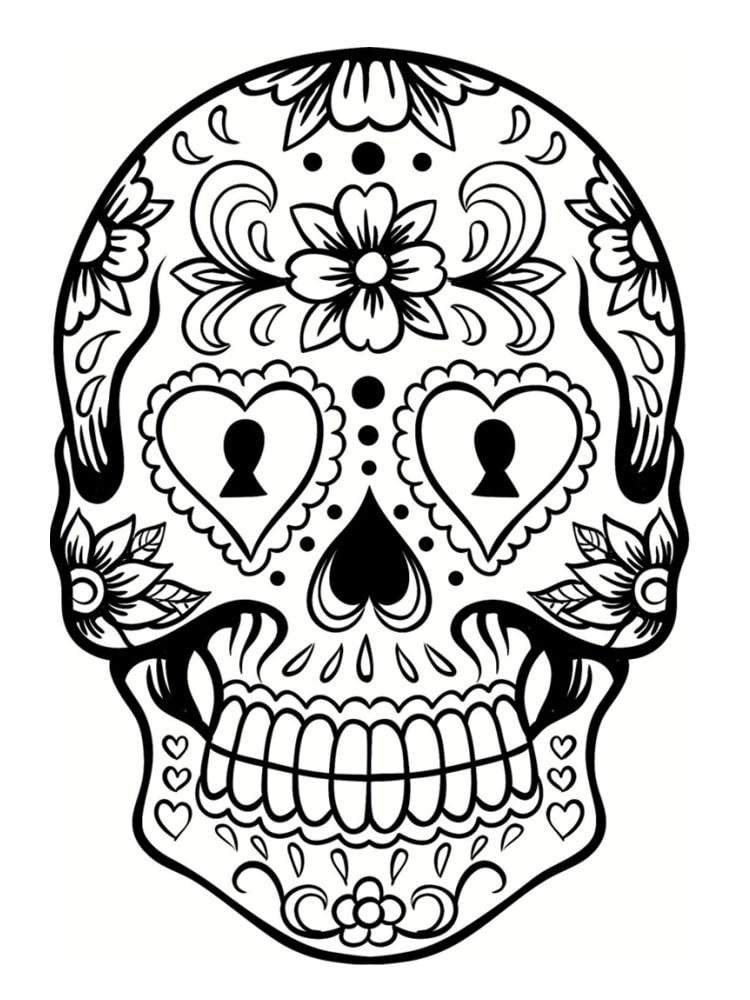 Coloriage Tête De Mort Mexicaine : 20 Dessins À Imprimer avec Crane Mexicain Dessin