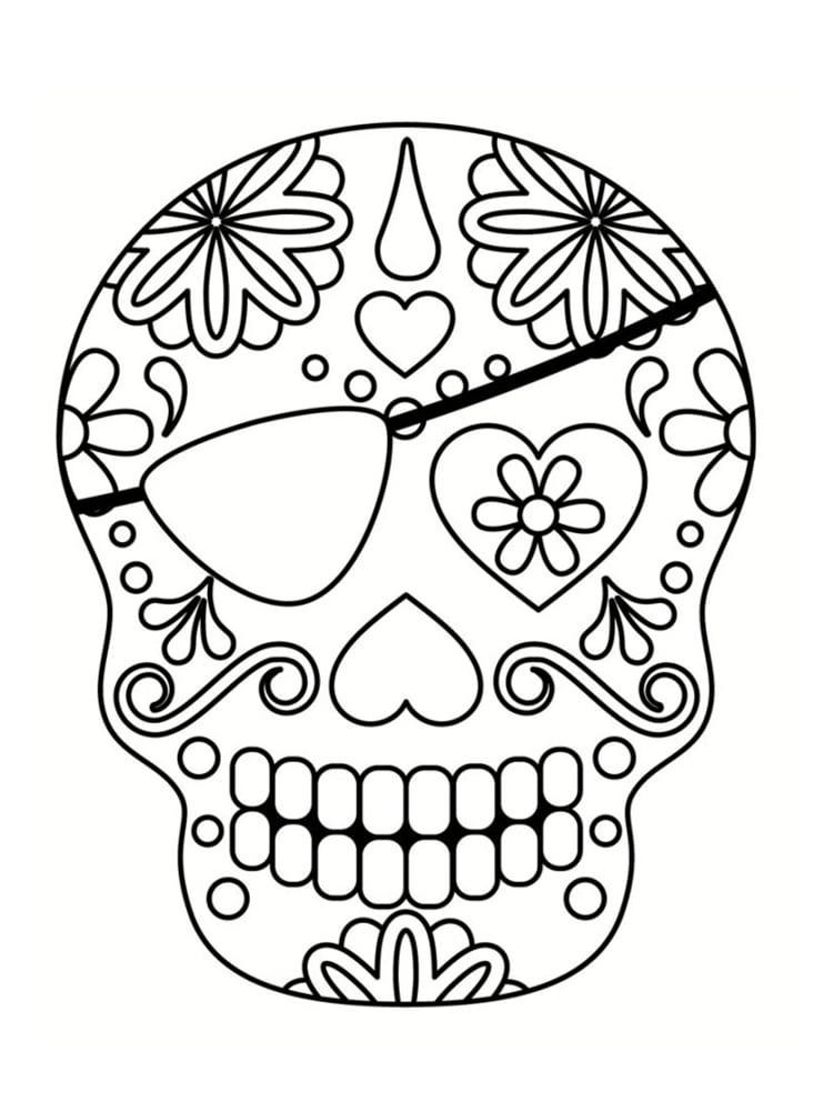 Coloriage Tête De Mort Mexicaine : 20 Dessins À Imprimer destiné Crane Mexicain Dessin