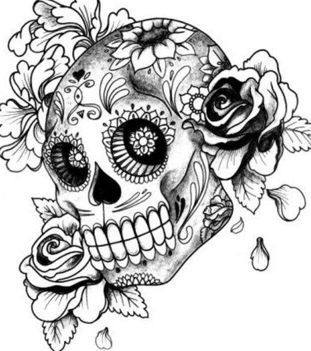 Coloriage Uage De Crâne Fleuri Dessin Gratuit À Imprimer pour Crane Mexicain Dessin