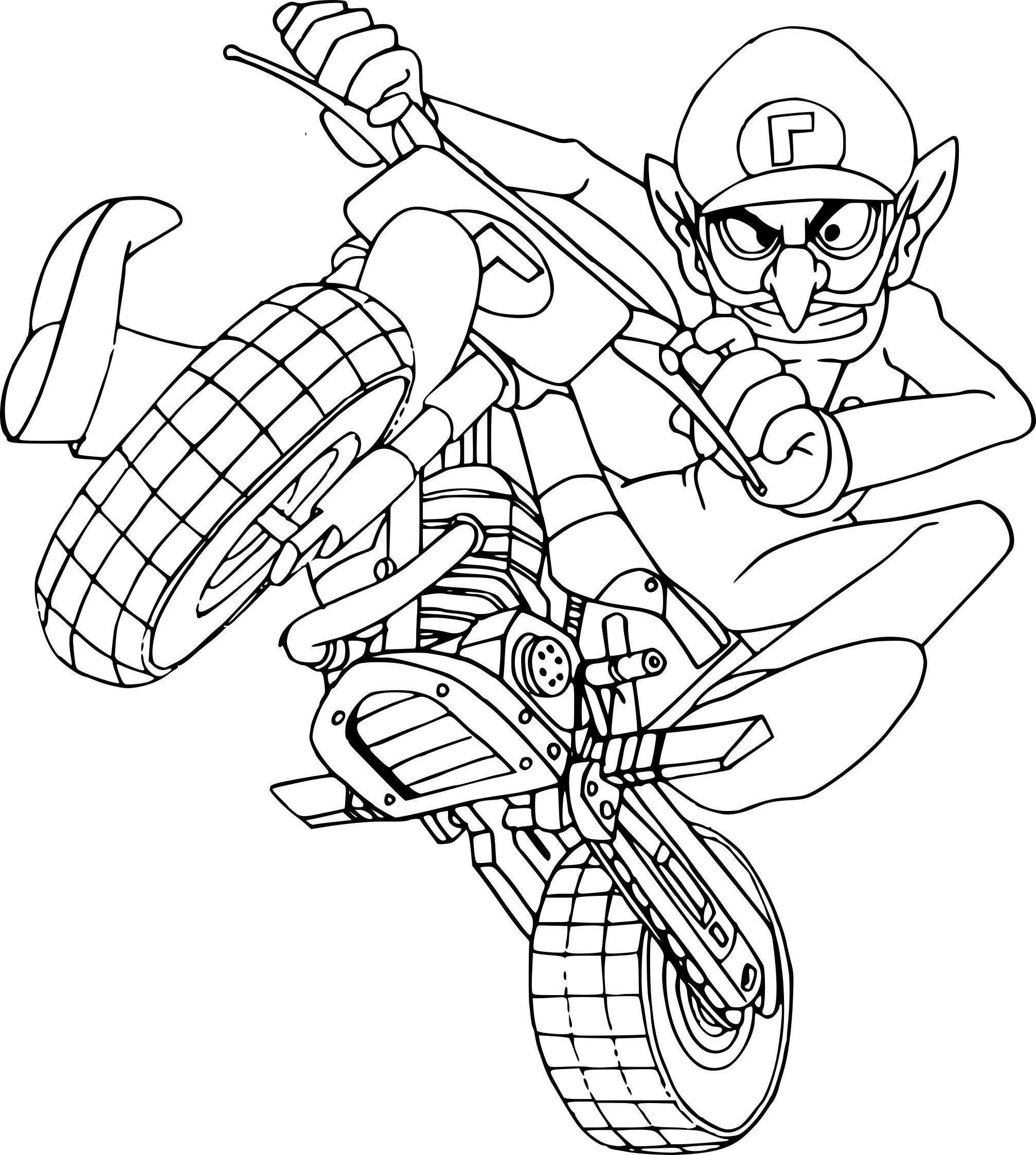 Coloriage Waluigi Mario Kart À Imprimer destiné Karting Dessin