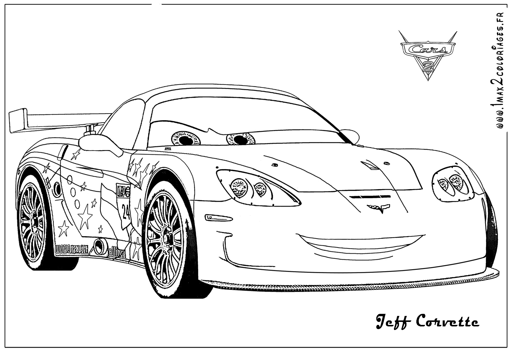 Coloriages Cars 2 - Jeff Corvette Cars 2 - Coloriages Les concernant Dessin À Colorier Cars