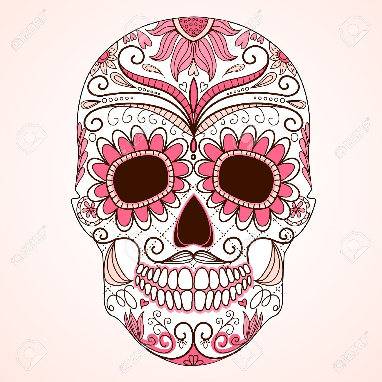 Day Of The Dead Colorful Skull With Floral Ornament destiné Crane Mexicain Dessin