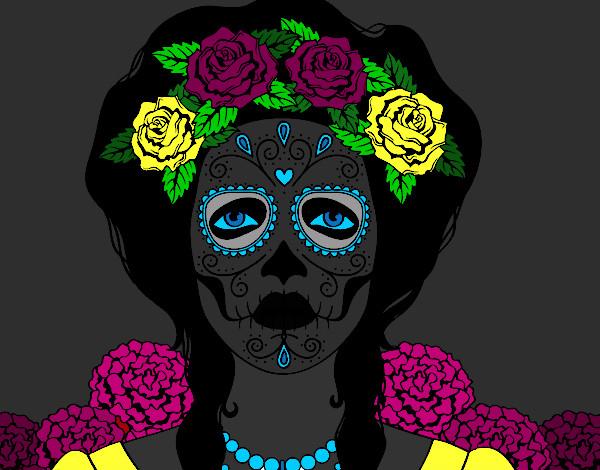 Dessin De Crâne Mexicain Femme Colorie Par Kake Le 08 De tout Crane Mexicain Dessin