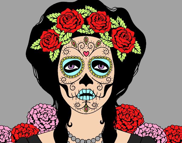 Dessin De Crâne Mexicain Femme Colorie Par Membre Non avec Crane Mexicain Dessin