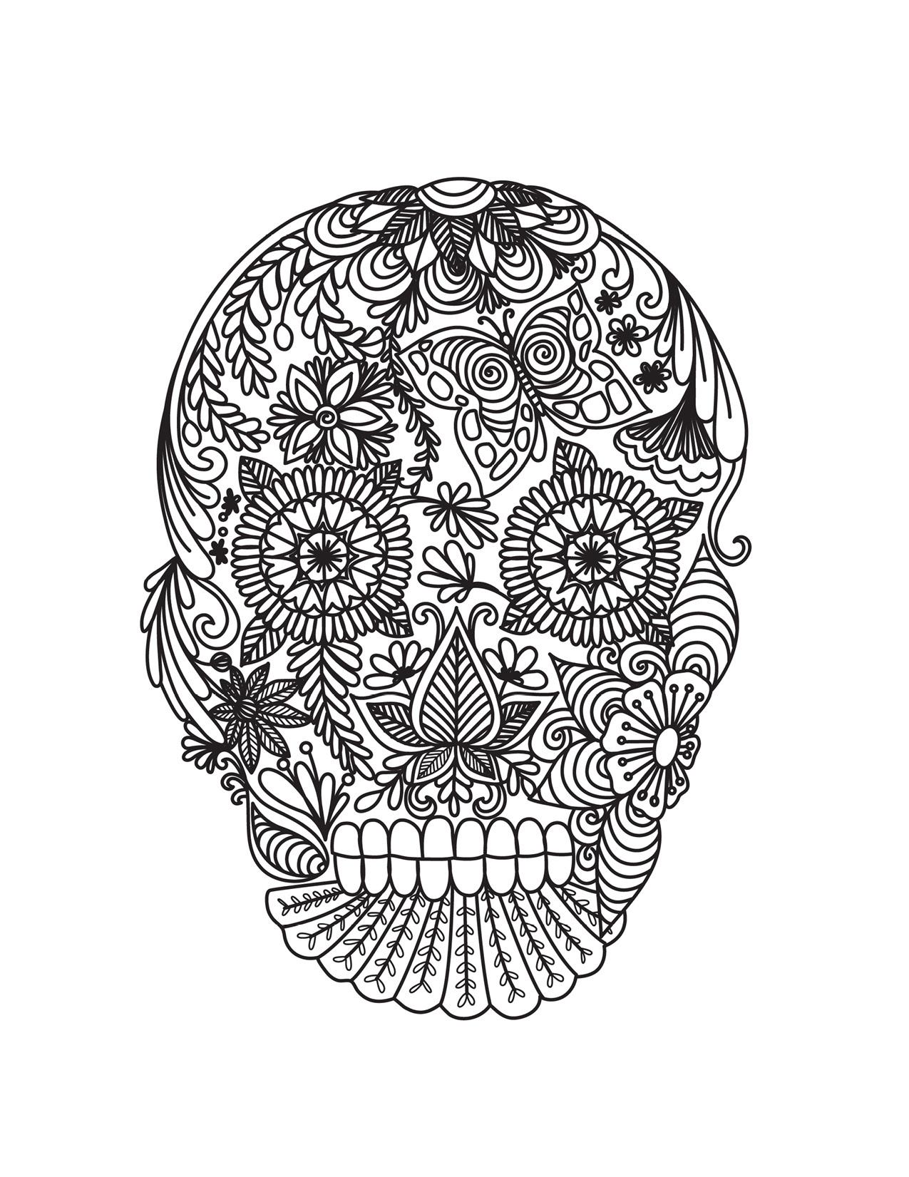 Dessin Mexican Skull Tattoo Pour Adulte À Imprimer à Crane Mexicain Dessin