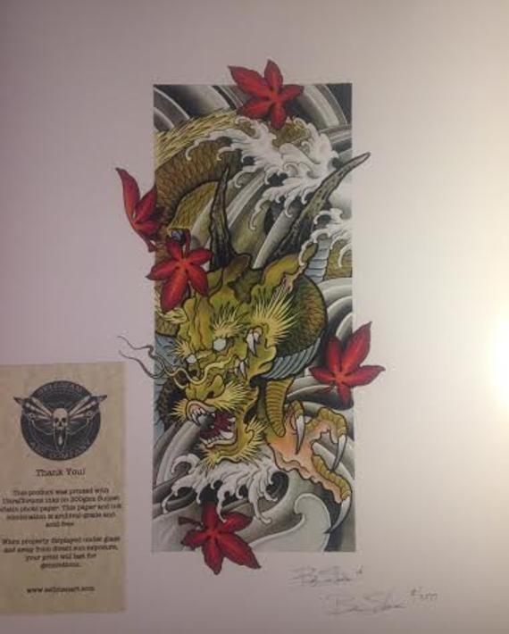 Dragon/Print/Copic Marker/Art/Japonais/Érable Feuilles/Eau/Ben serapportantà Feuille D Érable Dessin