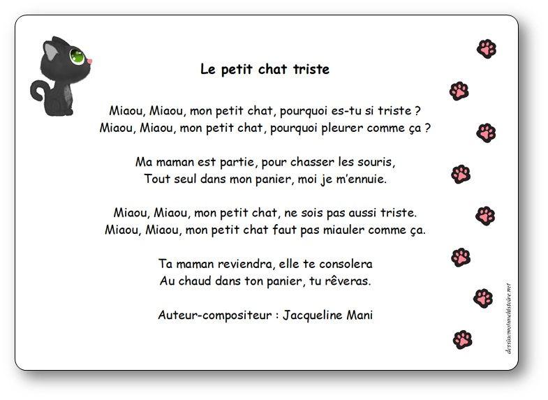 Le Petit Chat Triste, Une Chanson De Jacqueline Mani destiné Paroles 3 Petits Chats