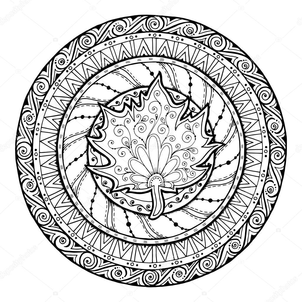 Mandala Automne. Tribal Doodle Avec Feuille D'Érable dedans Feuille D Érable Dessin