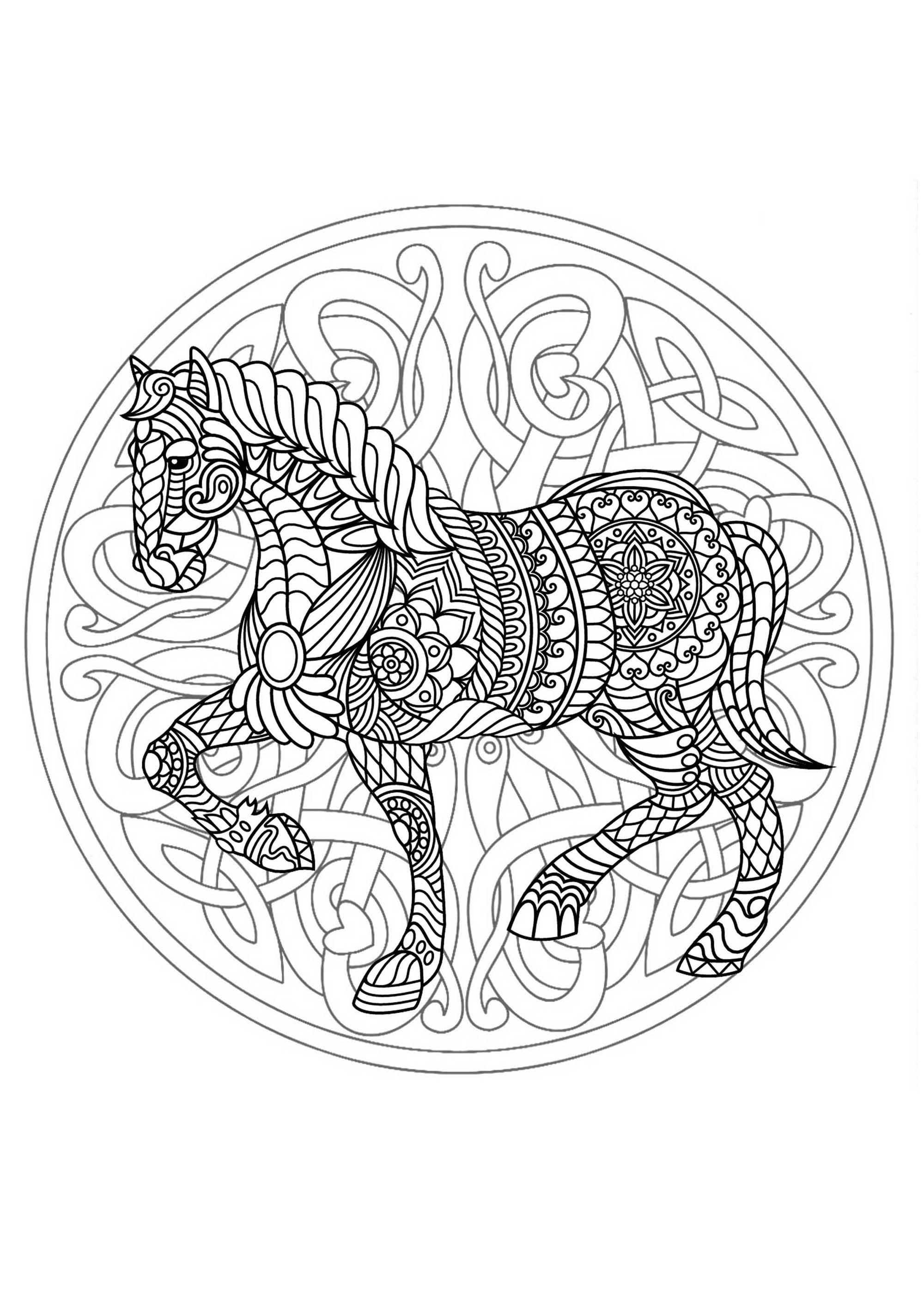 Mandala Cheval 3 - Mandalas - Coloriages Difficiles Pour à Dessin De Cheval À Imprimer