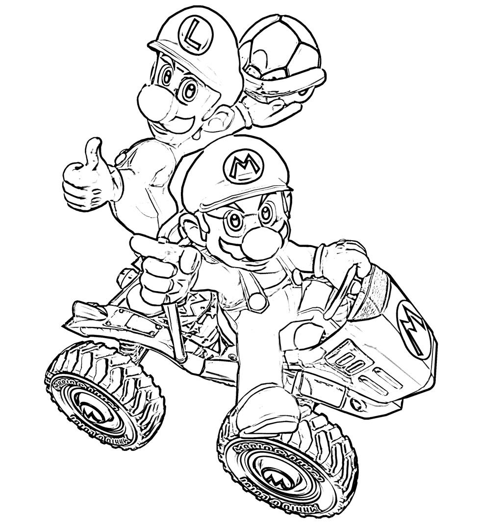Mario Kart Wii 3 - Coloriage Mario Kart - Coloriages Pour à Karting Dessin