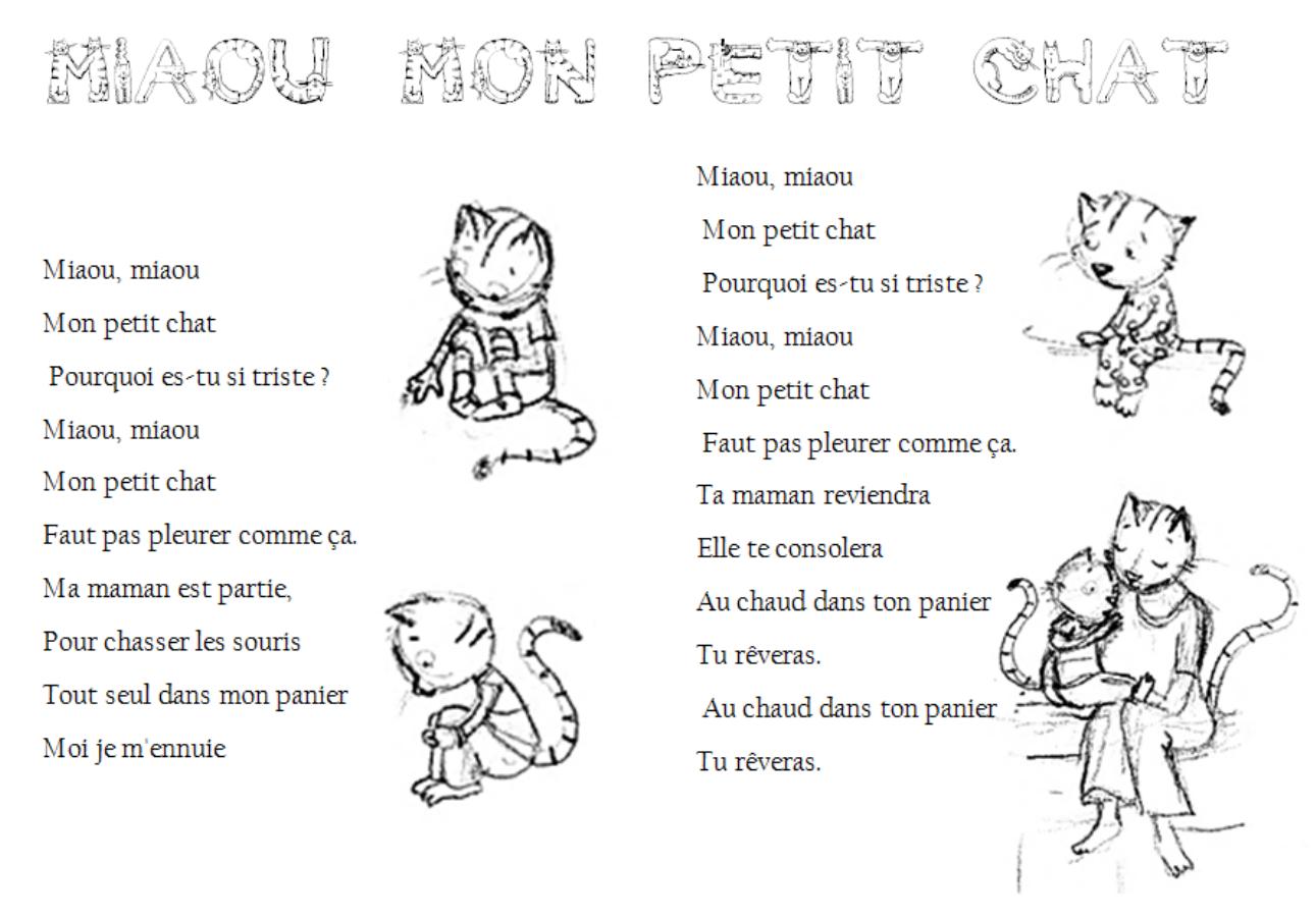 Miaou Mon Petit Chat - Ecole Sainte Marie De Cossé Le Vivien destiné Paroles 3 Petits Chats