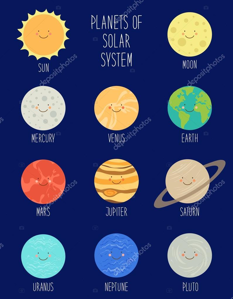 Personnages De Dessins Animés Des Planètes Du Système à Dessin Systeme Solaire