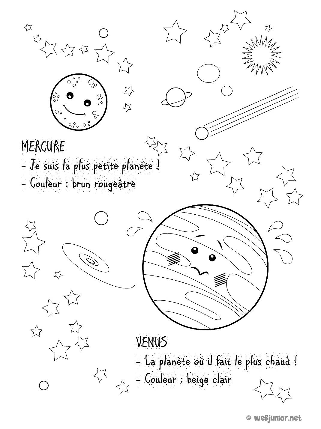 Planètes : Mercure Et Vénus : Coloriage Sciences Gratuit à Dessin Systeme Solaire