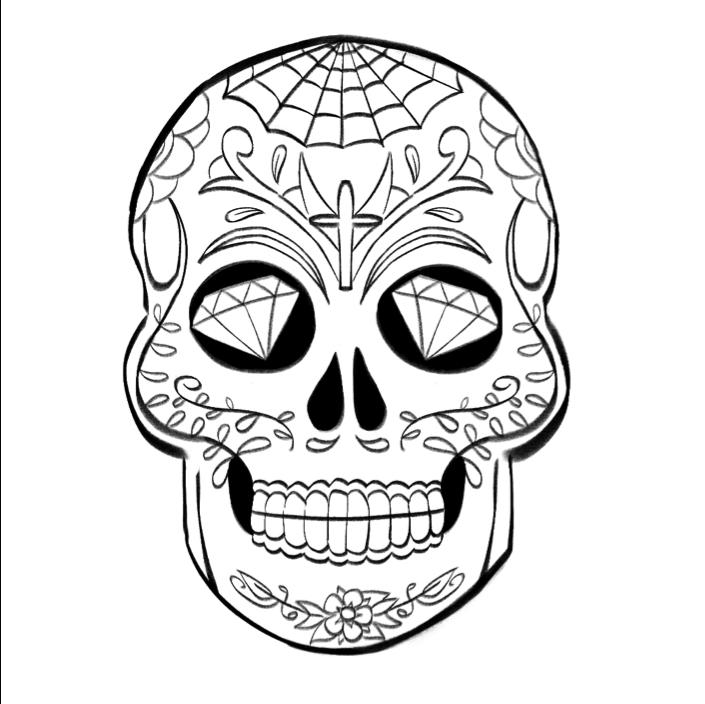 Réaliser Un Dessin De Crâne Mexicain - Dessindigo pour Crane Mexicain Dessin