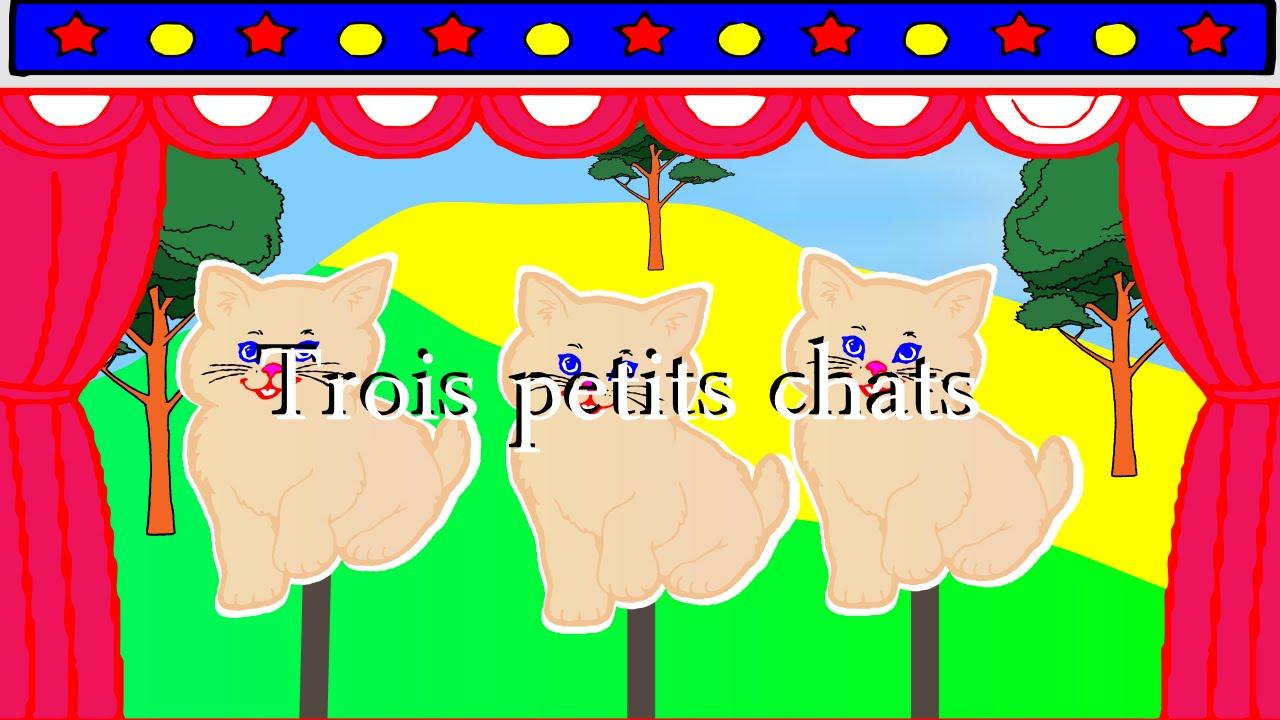 """""""Trois Petits Chats""""-Comptines Et Chansons Animées - pour Paroles 3 Petits Chats"""