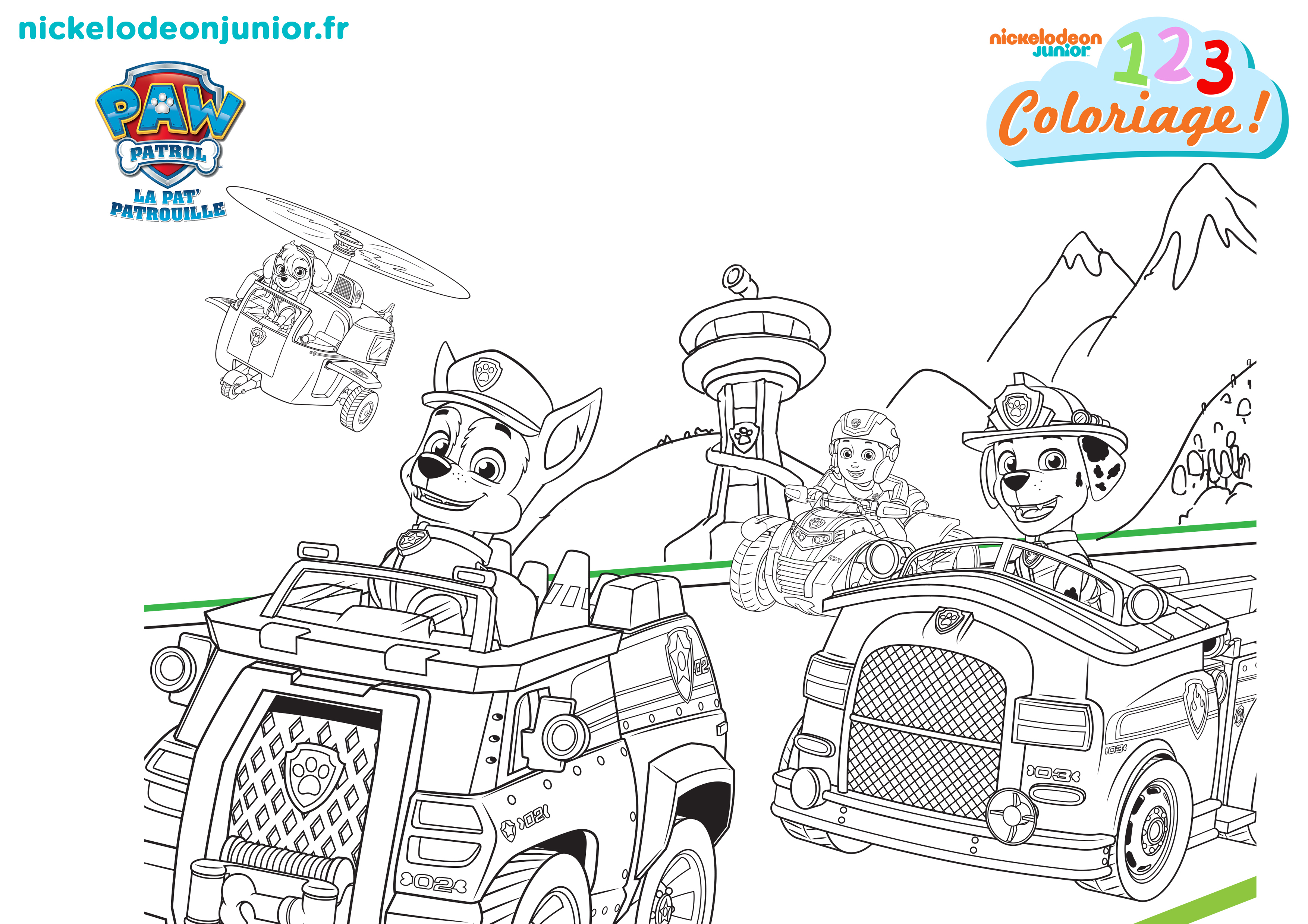 1, 2, 3 Coloriage ! | Paw Patrol : La Pat'Patrouille encequiconcerne Coloriage Pat Patrouille A Imprimer