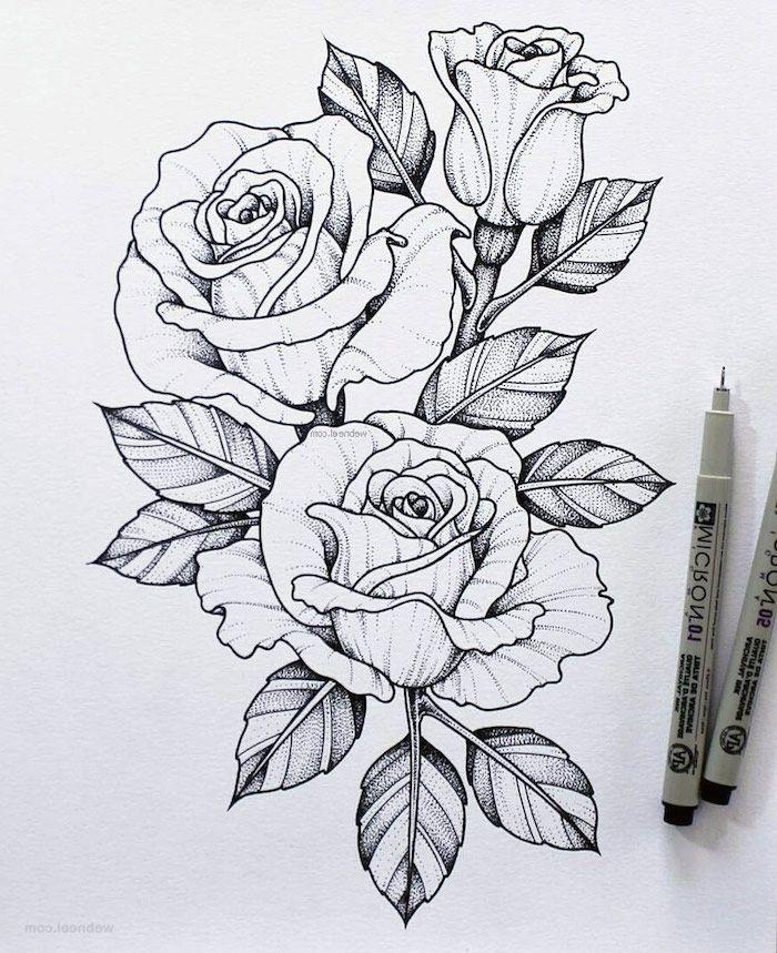 1001 + Images De Dessin De Fleur Pour Apprendre À Dessiner destiné Rose Facile A Dessiner