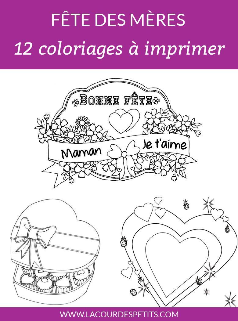12 Coloriages Pour La Fête Des Mères (Avec Un Cadeau dedans Coloriage De Fête Des Mères À Imprimer