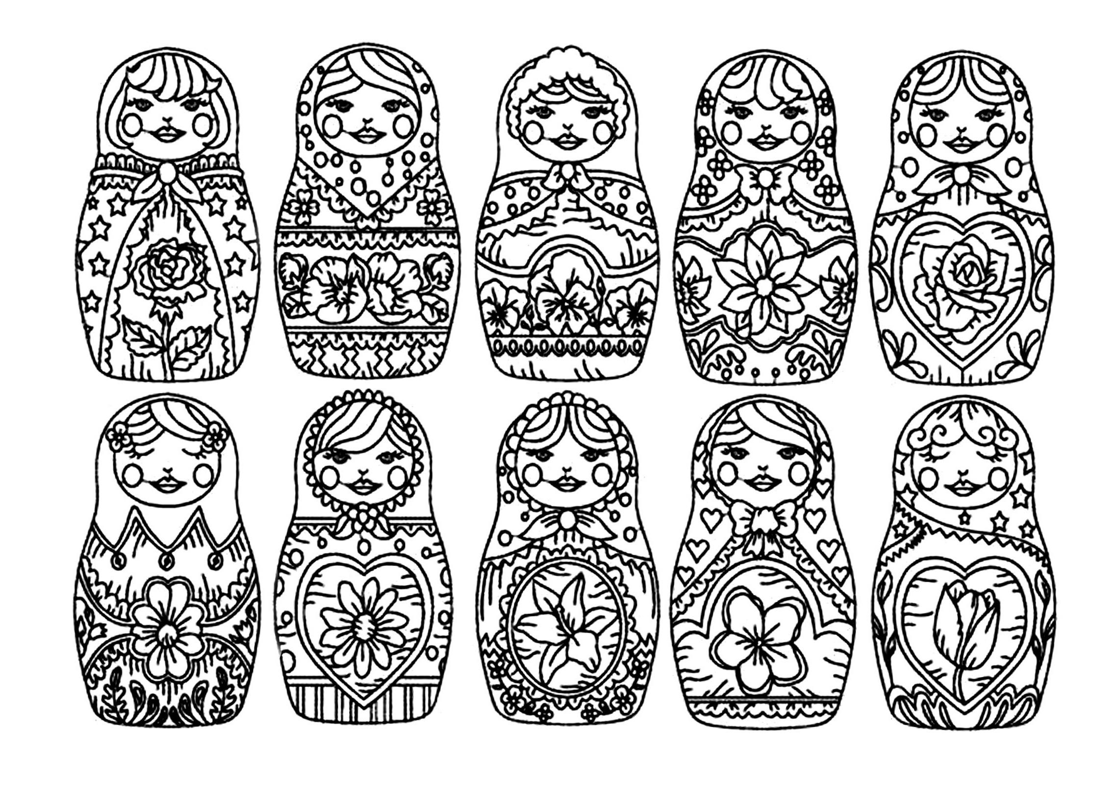 14 Impressionnant De Dessin Matriochka Galerie - Coloriage à Coloriage Poupée Russe