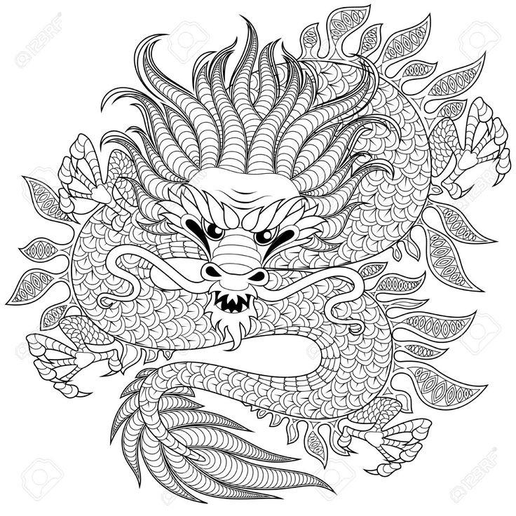 161 Besten Coloring: Fantasy Bilder Auf Pinterest destiné Coloriage Dragon Chinois