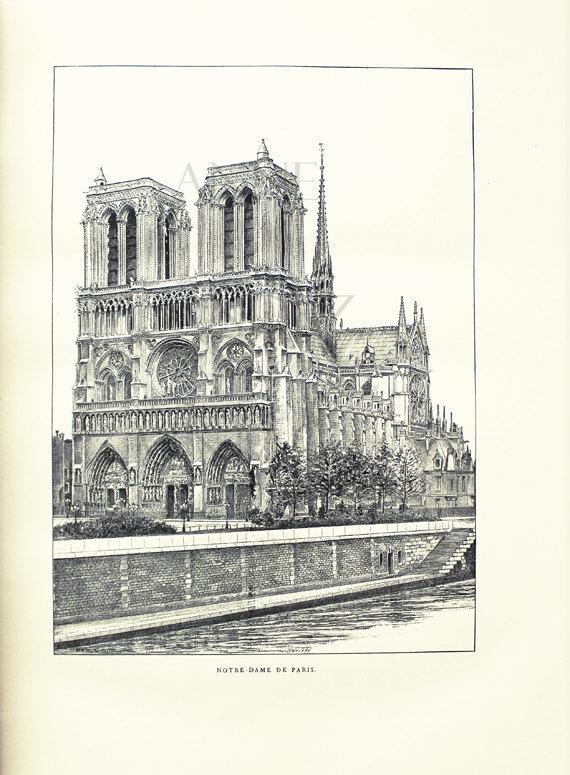 1889 Dessin Noir Et Blanc Cathédrale Notre Dame De Paris concernant Coloriage Notre Dame De Paris