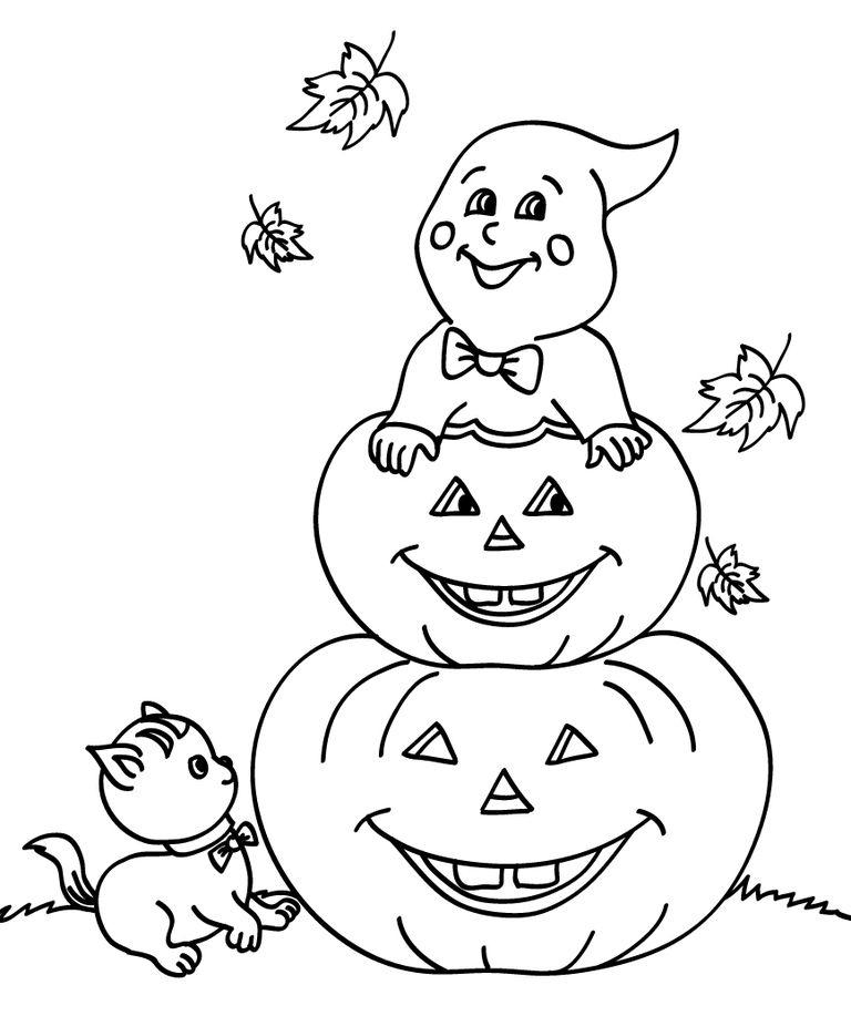 195 Pumpkin Coloring Pages For Kids destiné Dessin Fantome