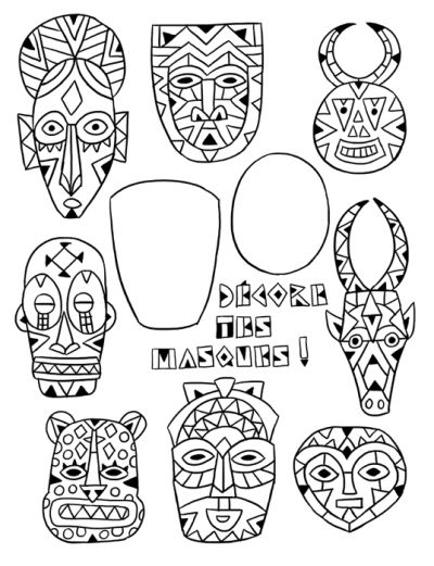 2 Masques … | Art Africain Traditionnel avec Dessin Masque Africain