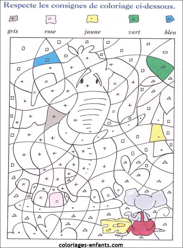 (2015-12) 5 Farver, Elefant … | Coloriage Magique tout Coloriage À Imprimer Avec Code Couleur