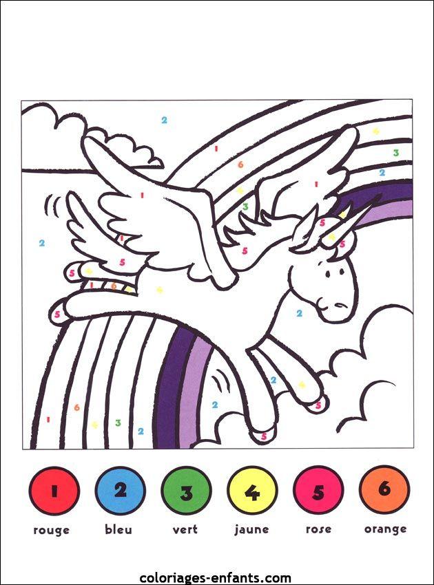 (2015-12) 6 Farver, Enhjørning | Licorne Coloriage concernant Coloriage 3 Ans À Imprimer Gratuit Pdf
