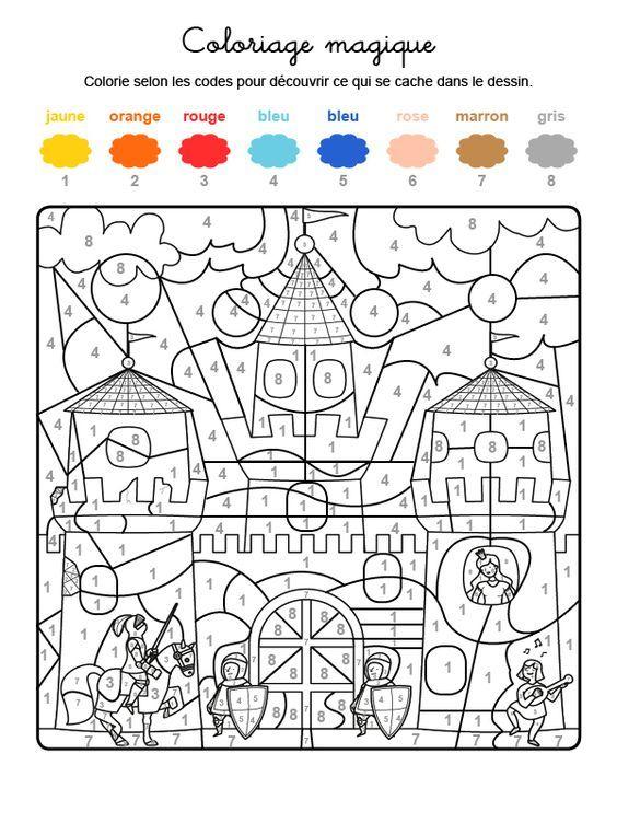 (2017-11) 8 Farver, Slot | Coloriage Magique, Coloriage destiné Coloriage Magique Grande Section Maternelle