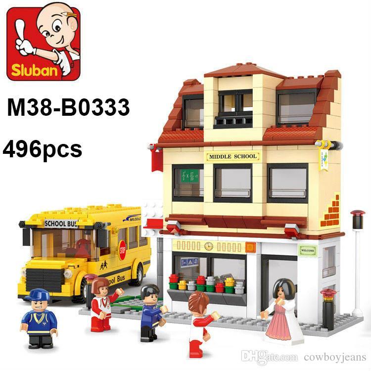 2019 Lepin Toy Sluban M38 B0333 Building Blocks School Bus concernant Ecole Lego Friends