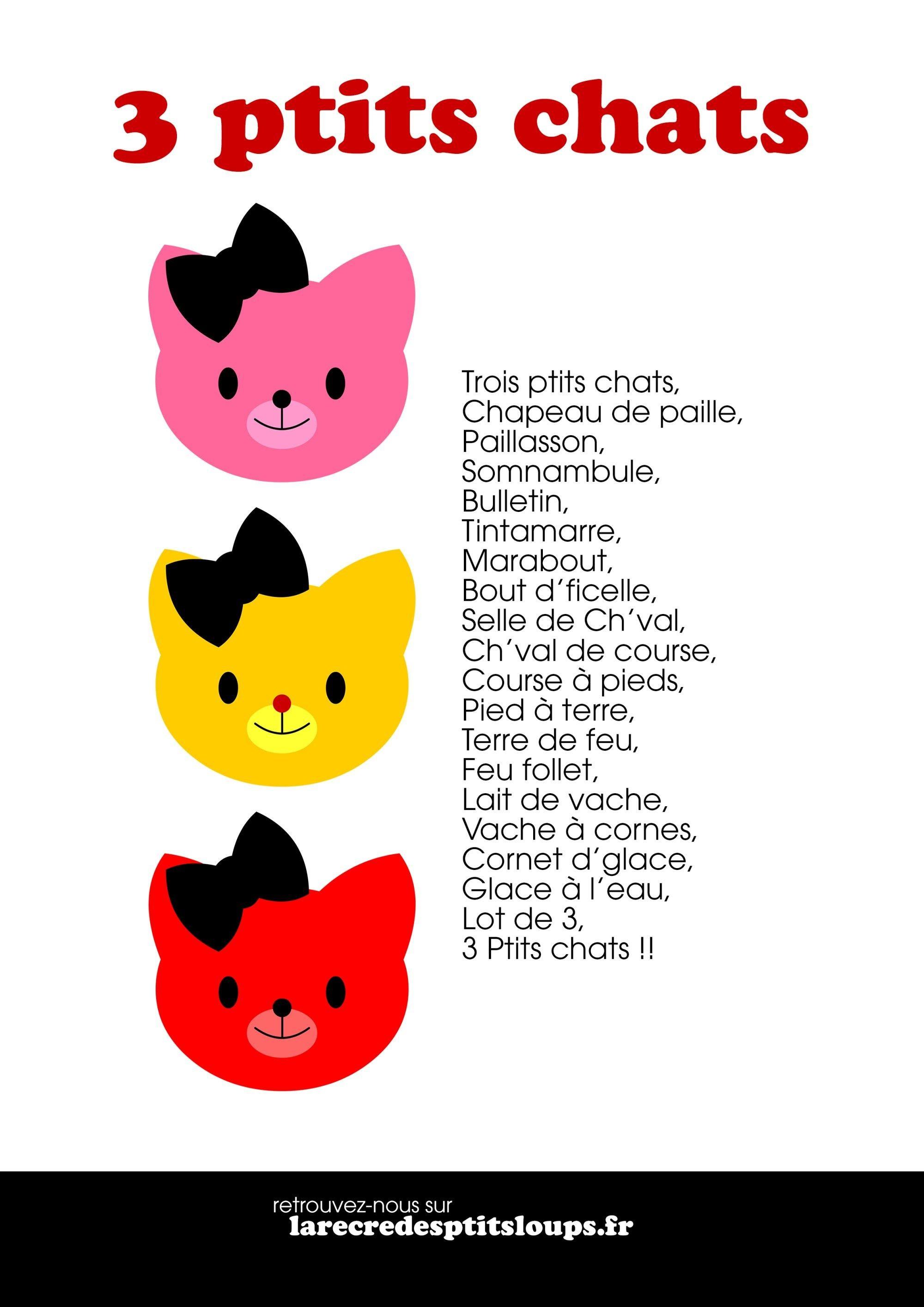 3 Petits Chats Comptine  Chanson Trois Petit Chat concernant Contine 3 Petit Chat Paroles