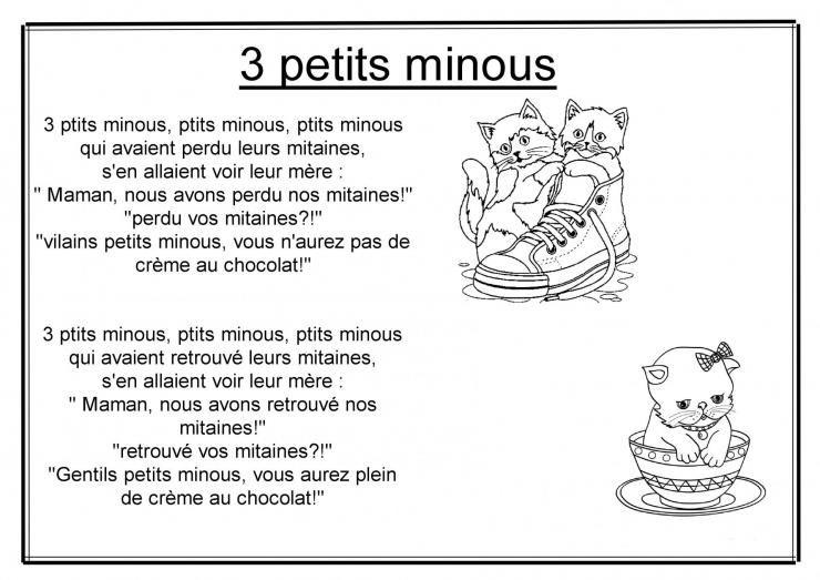 3 Petits Minous (Avec Images) | Chanson Enfantine, Minou dedans Parole Chanson 3 Petit Chat