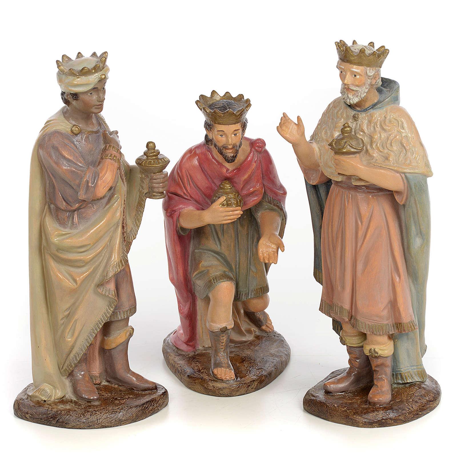 3 Rois Mages 25Cm Pâte À Bois Vieillie | Vente En Ligne à Chameaux 3 Rois Mages