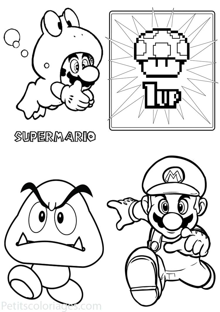 4 Coloriages Mario Mario Grenouille, Champignon, Partie encequiconcerne Dessin À Imprimer Mario