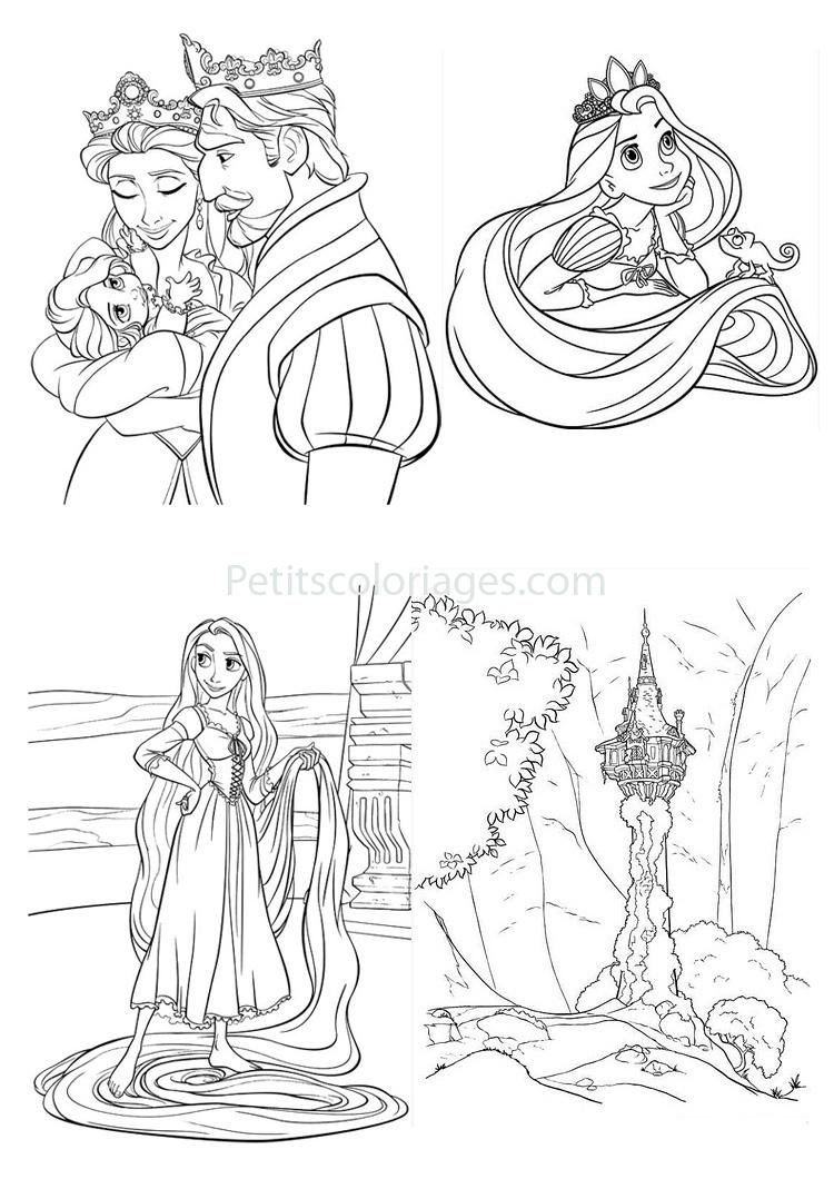 4 Coloriages Raiponce Chateau,Roi,Bébé,Reine,Cheveux Sur tout Dessin De Raiponce A Colorier
