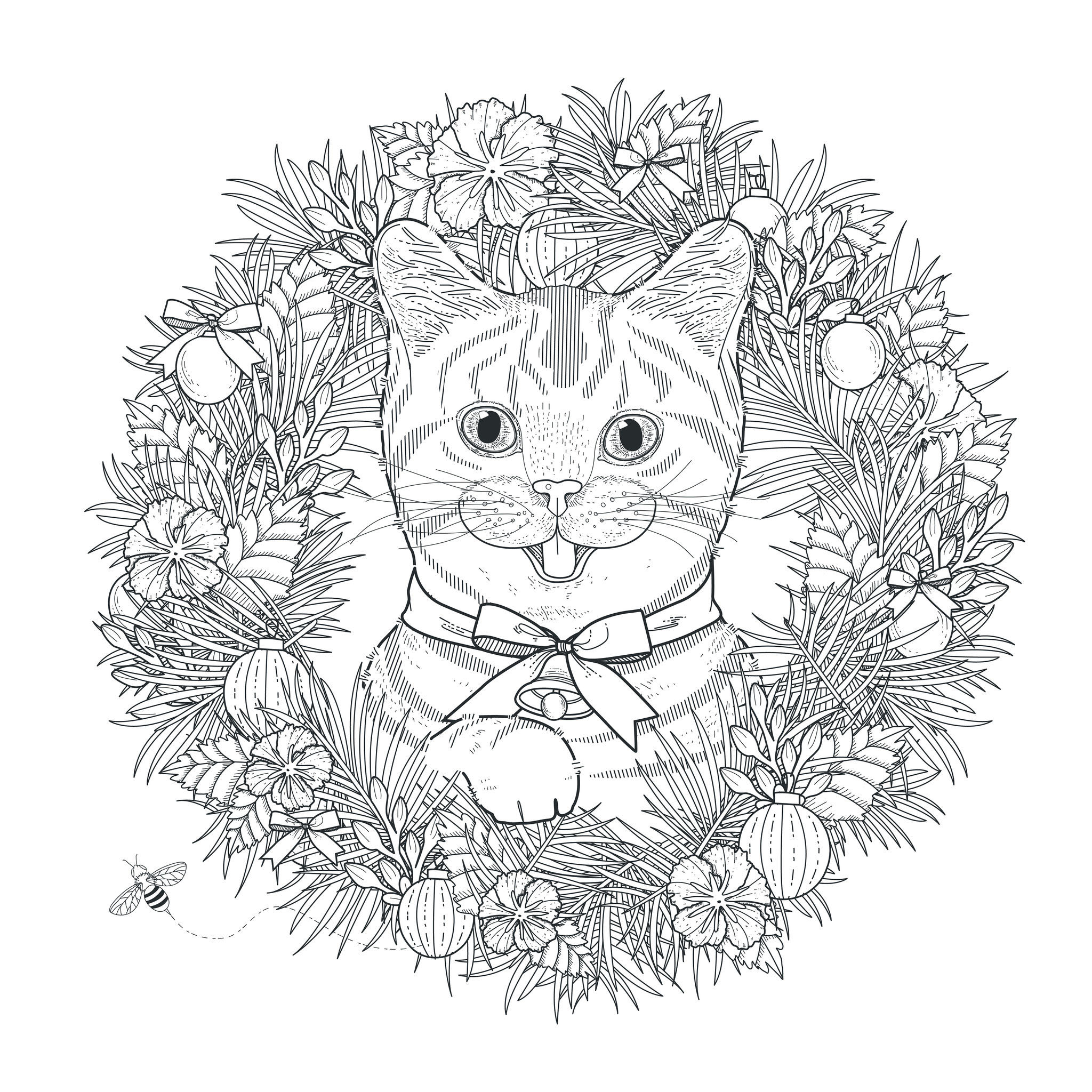 44695499 Adorable Kitty Coloring Page In Exquisite Style dedans Coloriage Adulte Mandala