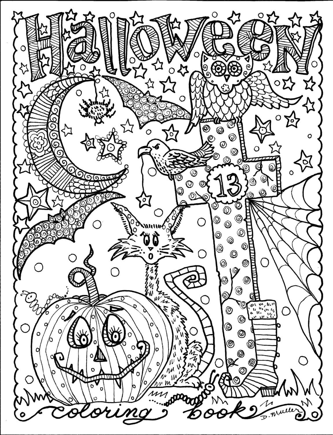 5 Pages Instant Download Halloween Coloring Pages Art To Color/Digital/Digi Stamp/Witch/Cat/Moon à Coloriage Adult