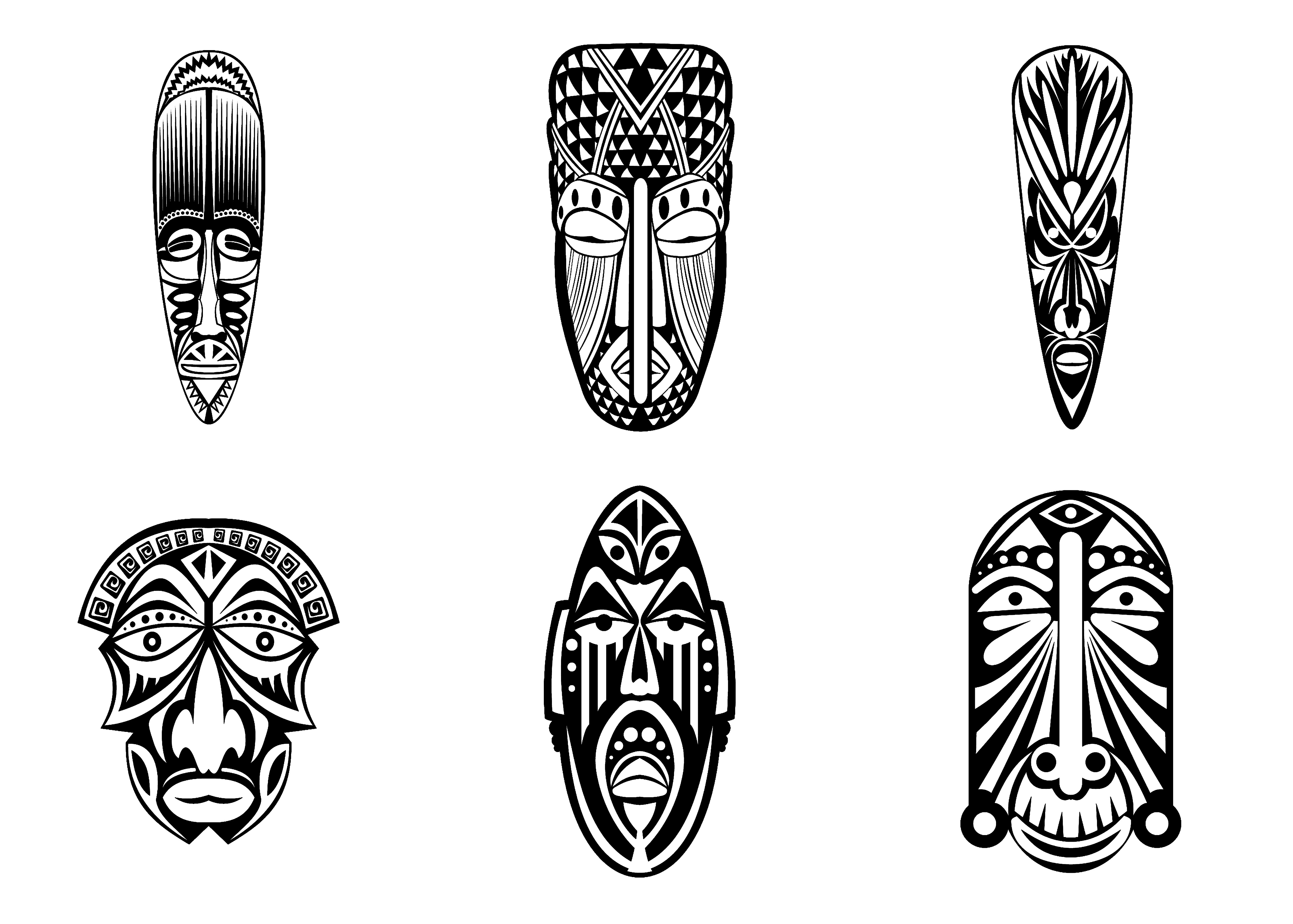 6 African Masks Simples - Africa Adult Coloring Pages destiné Dessin Masque Africain