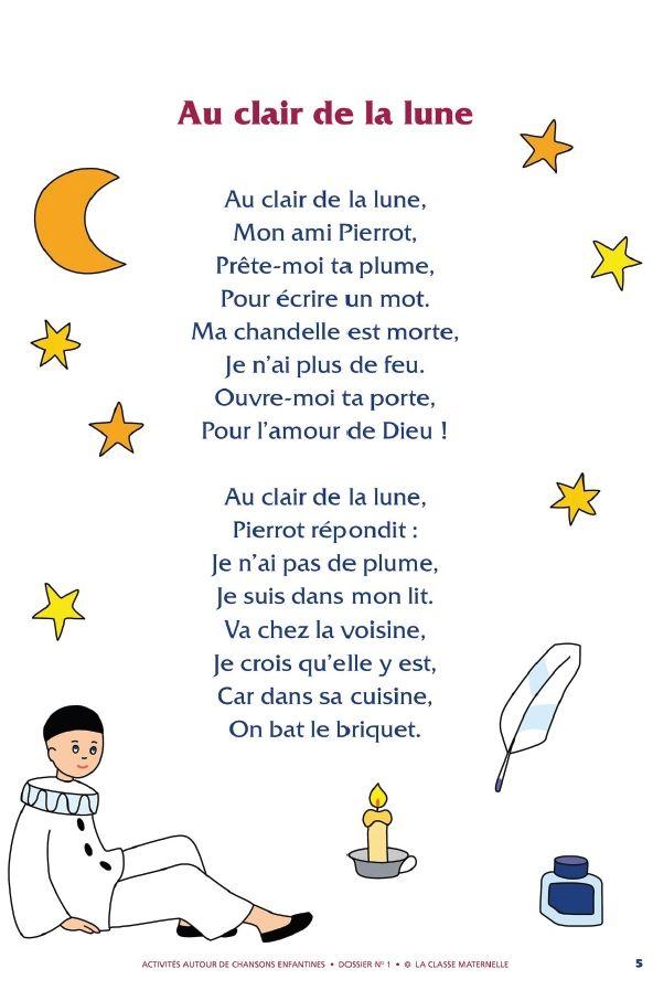 75 Best Fsl Core Efi - Chansons Images On Pinterest dedans Au Clair De La Lune Lyrics Hiro