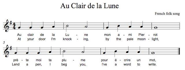 9 Best Recorder Music Images On Pinterest | Recorder Music avec Au Clair De La Lune Lyrics