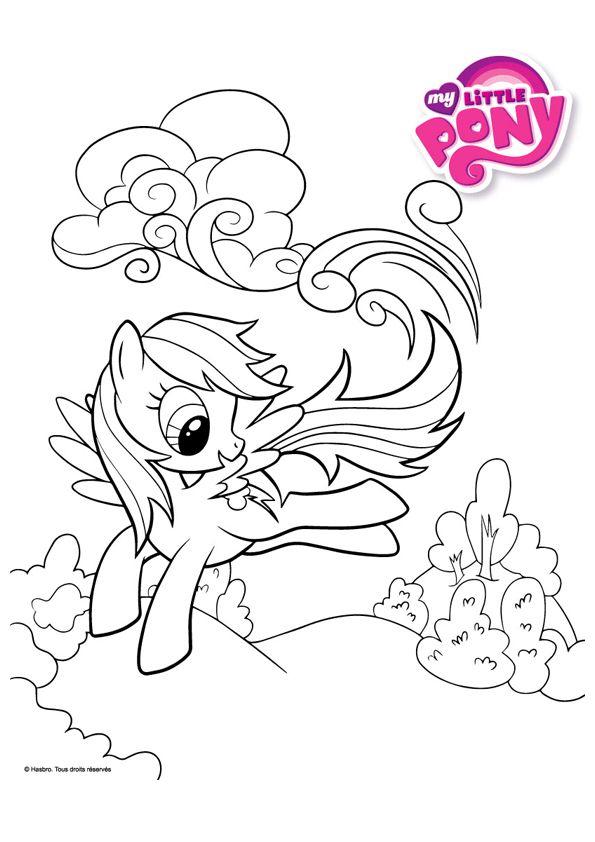 A Colorier, Un Dessin Du Pony Rainbow Dash | Coloriage tout My Little Pony A Imprimer
