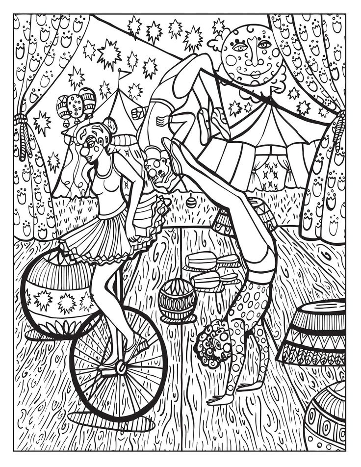 A Day At The Circus Coloring Page On Behance | Adult intérieur Coloriages