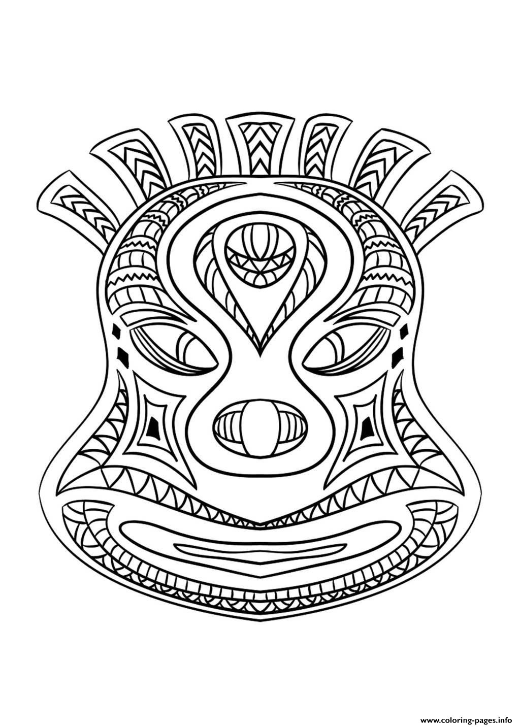 Adult African Mask 2 Coloring Pages Printable à Dessin Masque Africain
