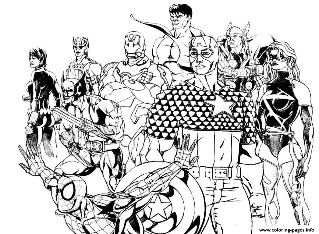 Adult Avengers Coloring Pages Printable serapportantà Coloriage Avengers A Imprimer